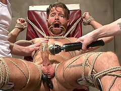 Tattooed dude got tied up and punished with different toys