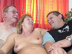 wild mature enjoys hardcore threesome with her handsome friends