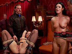 Tied brunette India Summer is ready for the rough BDSM and sex