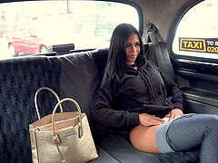 Taxi cabine is the perfect place for good fuck if you ask this brunette