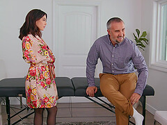 After oral sex Jane Wilde is ready to jump on a friend's hard pecker