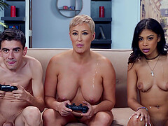 Nasty Jeni Angel adores hard threesome with her handsome friend