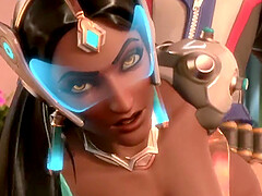Amazing blonde babe from Overwatch called Mercy rides dicks and takes it deep
