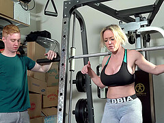 Busty Dee Williams enjoys sex at the gym with her horny trainer
