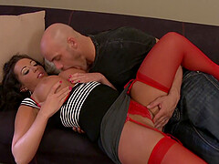 Hot brunette Richelle Ryan wears sexy red lingerie for fucking without mercy