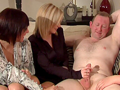 Dude gets his shaft stroked by Lara Hanks and other hotties