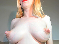 Milking big nipples on camera