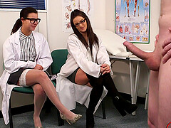 Naughty doctor Lola Knight and her friend watch a dude masturbate