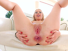 Blonde babe Diana Dali gets fucked in her gaping asshole during a 3-way