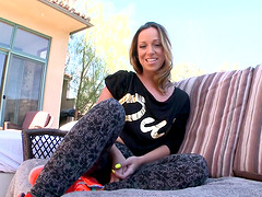 Amazing cutie Jada Stevens makes a long cock disappear in her